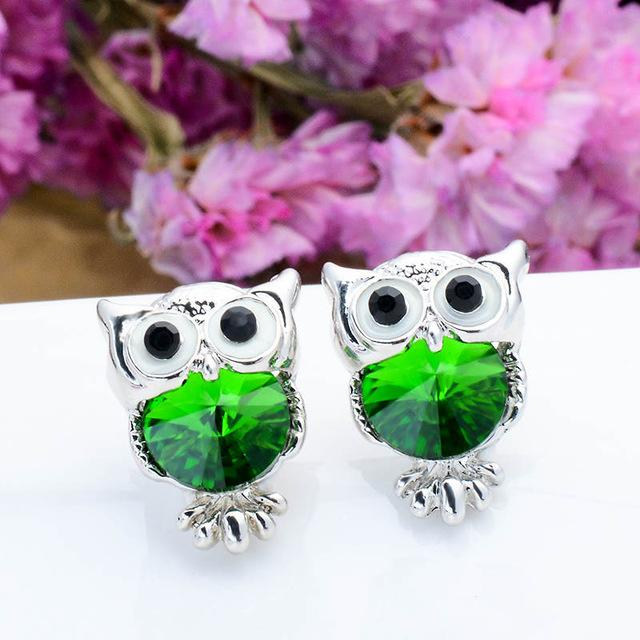 Silver Crystal Owl Stud Earrings