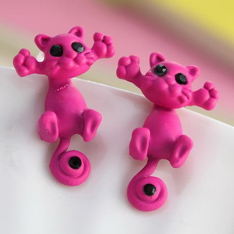 Multiple Color Cute Kitten Stud Earrings