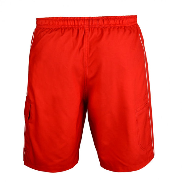 Men's Piped Lifeguard Board Shorts, great lifeguard board shorts for men, perfect lifeguard shorts for halloween costume party.