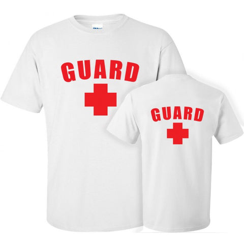 Men's Lifeguard T-Shirt w/ Front & Back - White - JustLifeguard