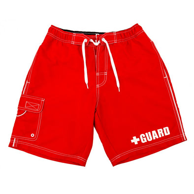 Men's Lifeguard Board Shorts, great lifeguard shorts for swimwear, red lifeguard board shorts for halloween costume party.