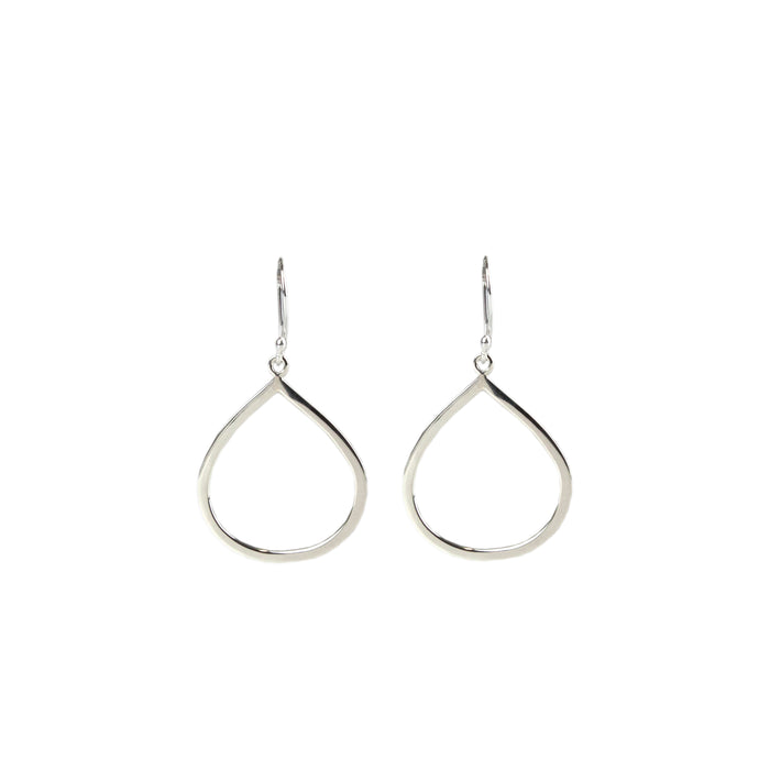 Sterling silver dangly teardrop shape earring on hook Antonia Scales Jewellery