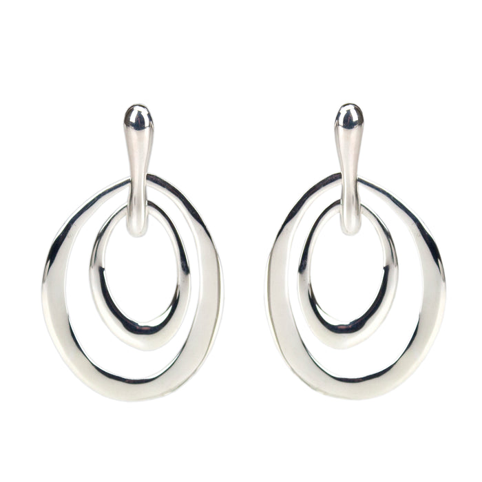Highly polished sterling silver nested elliptical shapes Antonia Scales jewellery