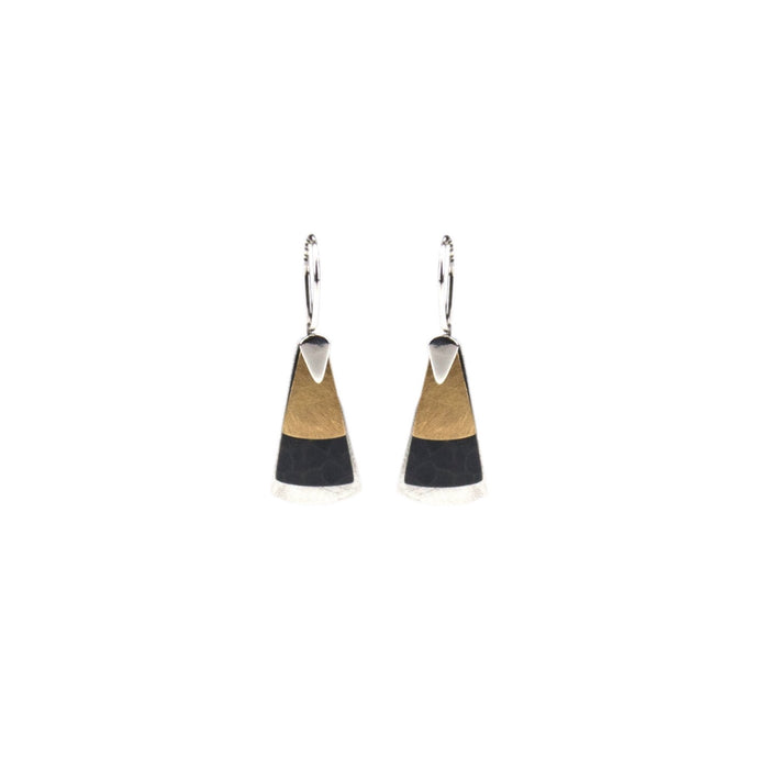 Triangular shaped drop featuring matt silver, oxidised silver and matt brass on a sterling silver hook.