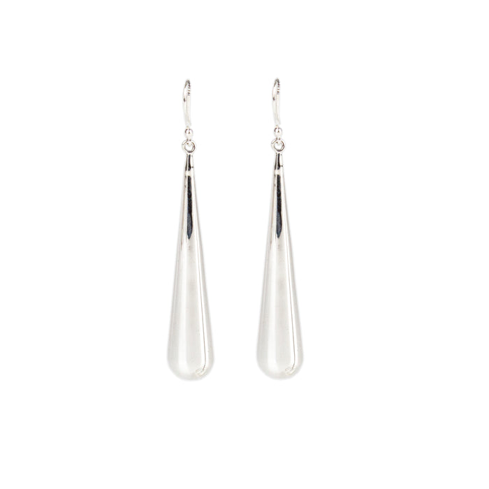 Highly polished elongated sterling silver cone on a simple hook Antonia Scales jewellery