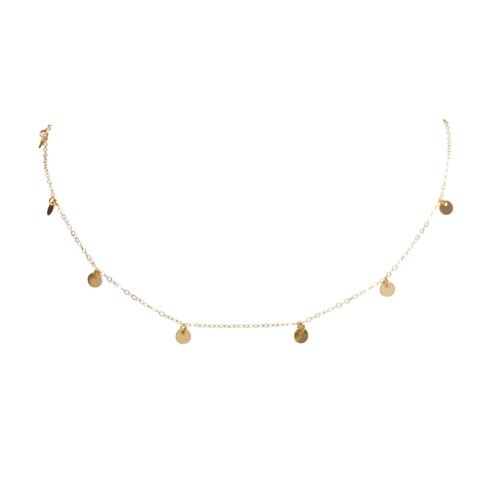 DANGLY GOLDEN DISC NECKLACE