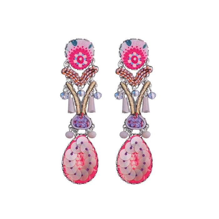 MORNING BLOSSOM, CLEAR STONE EARRINGS
