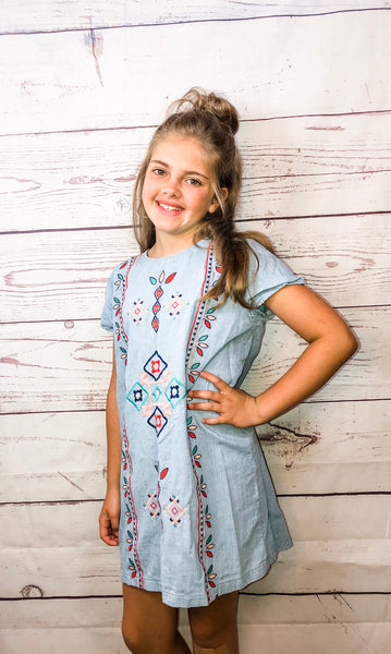 Chambray Tribal Dress