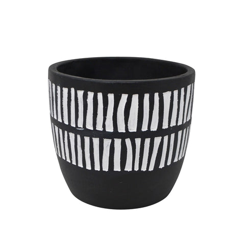 Cement Line Pot | Black