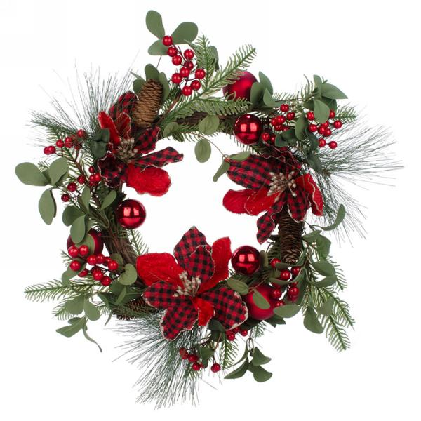 WREATH | RED BERRY + PINECONES