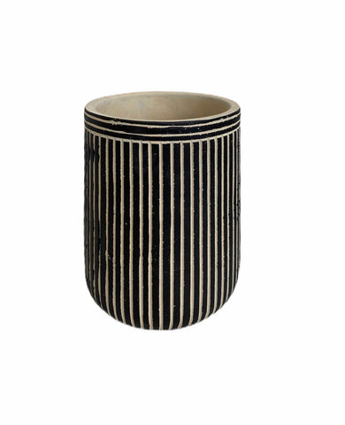 Pinstriped Cement Pot
