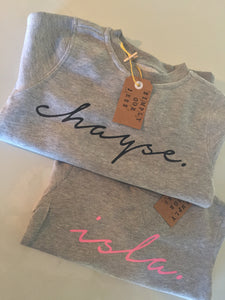 CUSTOM SWEATERS (GREY/BLACK/PINK/ PALE PINK)