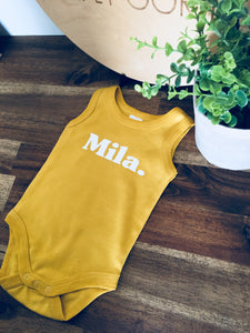MUSTARD SLEEVELESS ONESIE