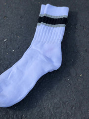 VINTAGE BLACK & GREY STRIPED SOCKS