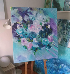 Pink and Turquoise Flowers Painting