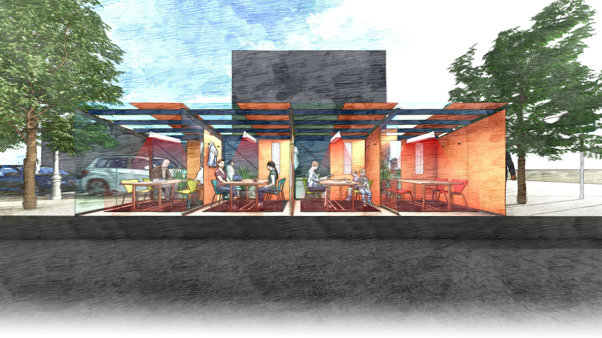 Iowa City outdoor dining module