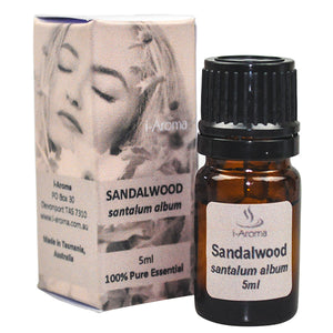 5ml bottle of pure Australian Santalum Album Sandalwood Essential Oil is known for easing mental fatigue and calming nerves.