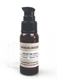 Sandalwood scented Natural Hair Serum by i-Aroma Tasmania Australia. Nourish, Protect & Perfume Hair