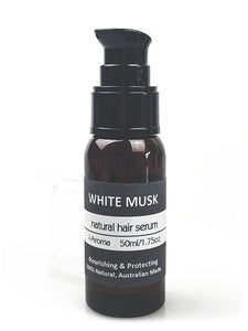 Natural Hair Serum scented with the fragrance of White Musk. Repair, nourish and perfume dry and damaged hair. Australian made