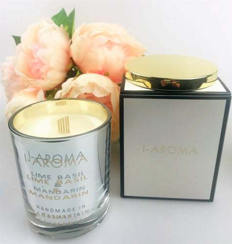 A very clean, fresh  and uplifting fragrance for the home. i-Aroma Lime, Basil & Mandarin Luxury Candle. Natural, made in Tasmania