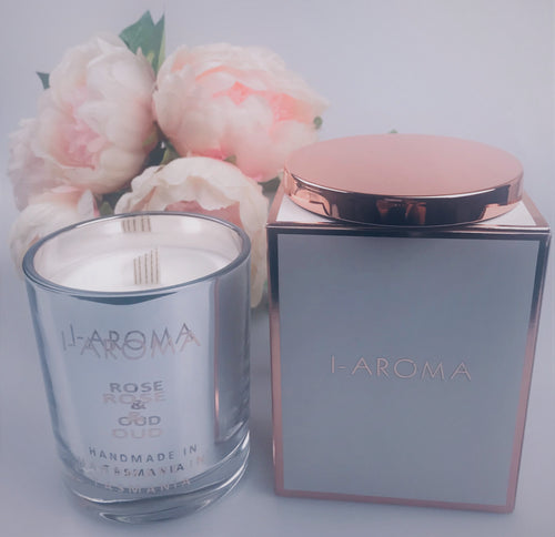 a sensual candle that emits the true floral scent of red roses complemented with the exotic woody fragrance of agarwood otherwise known as