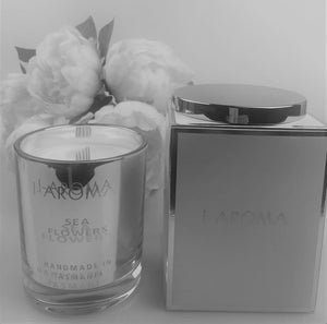 i-Aroma's Sea Flowers Luxury Candle is a gorgeous and popular candle combining  freshness of the sea, the crispness of a white floral bouquet, the sweetness of melons on a base of muskflowers & ambrette. Made in Tasmania