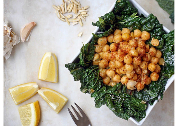 Warm Black Kale & Chickpea Salad