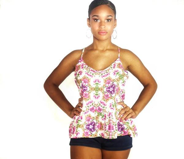 Rose Pink Flower Cami