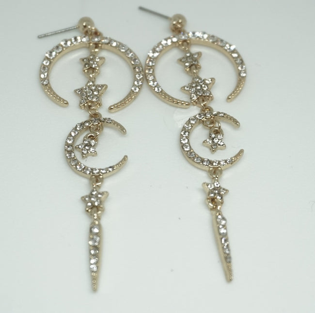 Crescent Moons and Stars Pave Earrings
