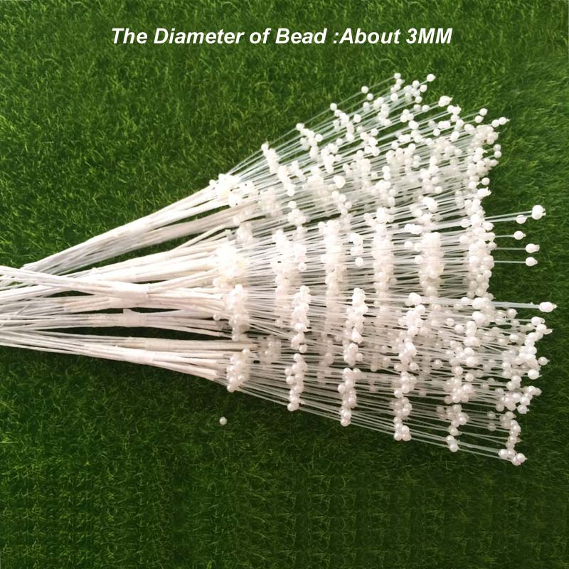 100PCS The Spray Of Pearl Beads Wire Stems,Bridal Hair Decoration accessories,Wedding Bouquet Charms,Artificial Flower Arranging