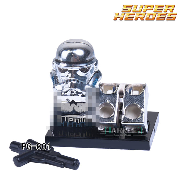 1PC Chrom Imperial Stormtrooper Superhero Collection Building Blocks Children Classic Figure Bricks Kids DIY Toys Children Gift