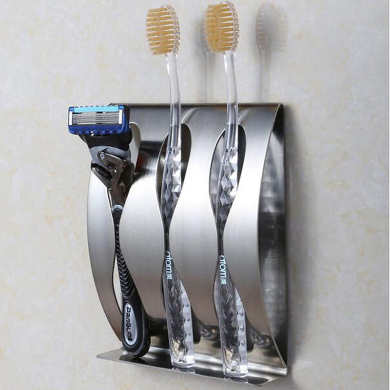 1Pcs Stainless Steel Wall Mount Toothbrush Holder 3/2 Hook Self-Adhesive Tooth Brush Organizer Box Bathroom Accessories