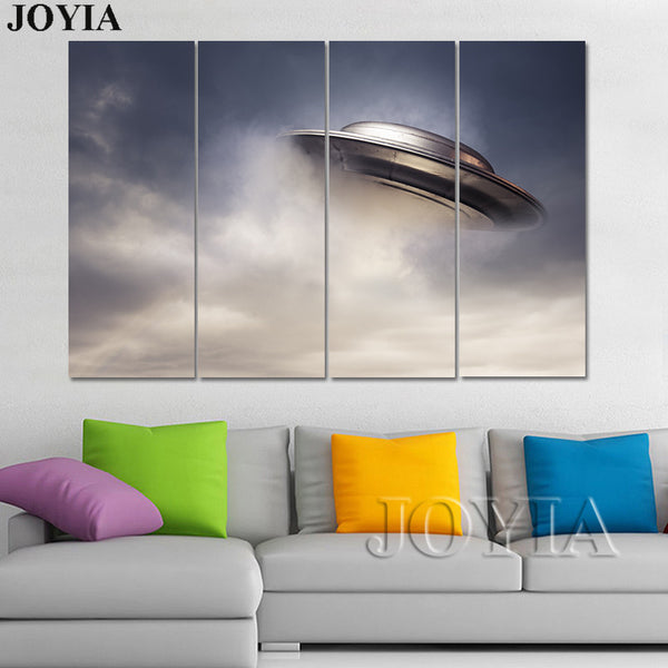 3 4 5 Piece Canvas Art Modern Multi Calligraphy Painting Set Flying UFO Pictures For Bedroom Office Living Room Decoration