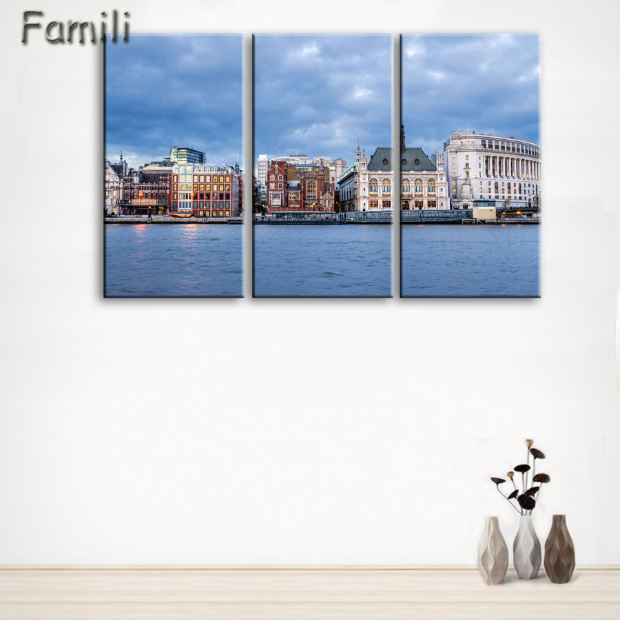 3 Panel Modern London city Canvas art Painting on the Wall Modular Pictures vintage home decor Canvas Painting for Living Room