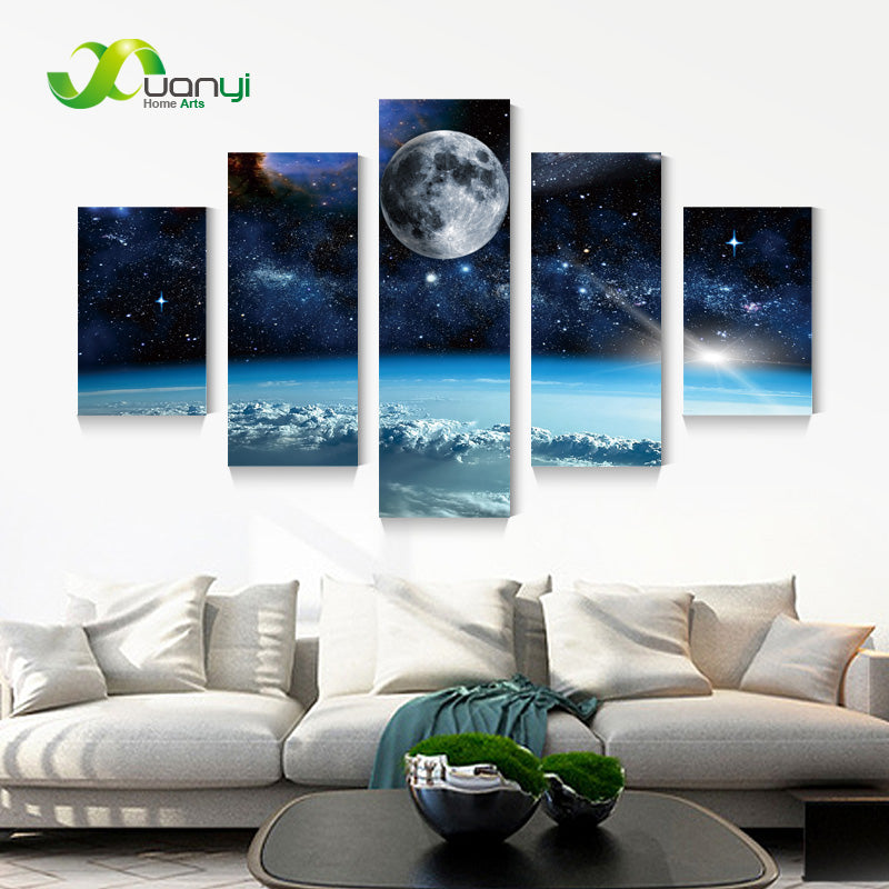 5 Panel Modern Printed Space Universe Landscape Paintings Canvas Picture Cuadros Earth Painting For Living Room No Frame XY284