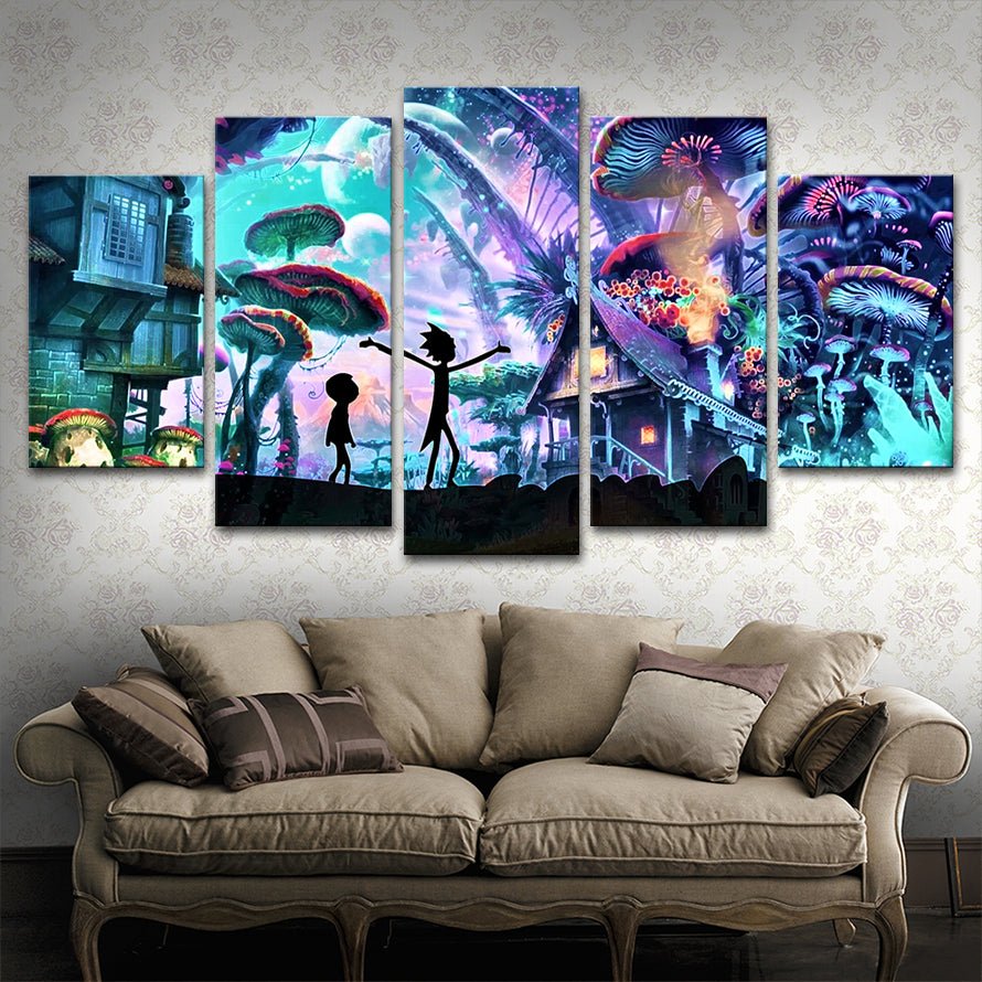 5 Panels Canvas Painting rick and morty poster Wall Art Painting Modern Home Decor Picture For Living Room Framed