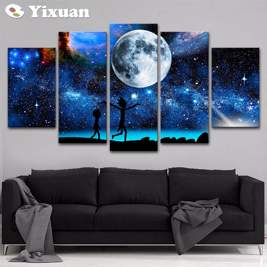 5 Panels Canvas Painting starry sky Rick and Morty poster Wall Art Painting Modern Home Decor Picture For Living Room Framework