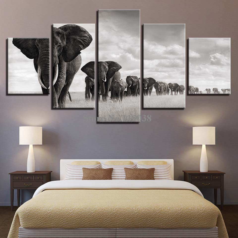 5 Panels Elephant Group Printed Canvas Painting Living Room Wall Art Animal Pictures No Frame Do Dropoship