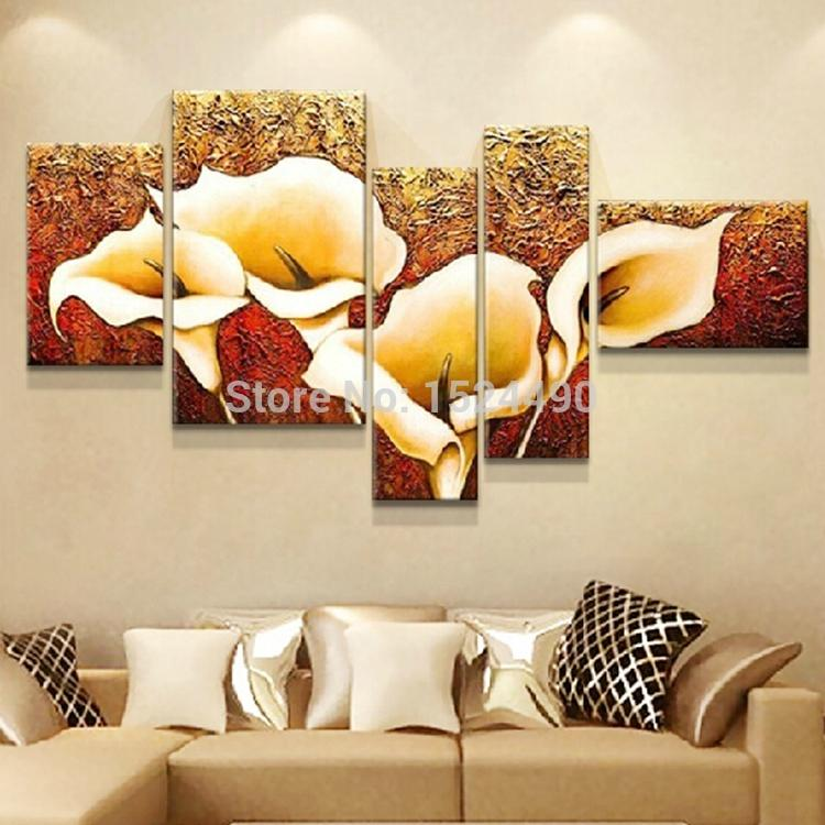 Canvas 5 Pcs 100% Hand-painted Autumn Golden Lily Flower Oil Painting  Wall Decor Pictures Art Home Decoration