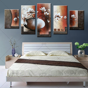 Canvas 5 Piece Art Modern Printed Vintage Flower Oil Paintings Picture Wall Decor Paintings