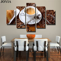 Canvas 5 Piece  Art Steaming Coffee Cup Pictures For Wall Food Prints Painting Set  Decor Un-Frame