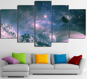5 Piece Wall Art Canvas Painting Universe Starry Sky Space Posters Modular Wall Pictures for Living Room Home Decor