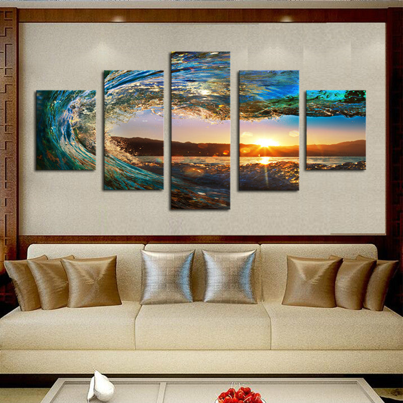5 Piece sea wave Painting large Canvas Wall Art huge Modern Ocean Decor Printed Painting Canvas Pictures for Living Room