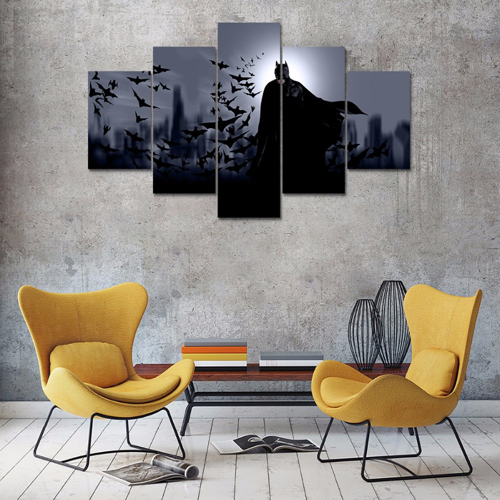 5 panel HD printed canvas painting Batman art movie poster canvas print Modern home decor wall art picture for living room F1211