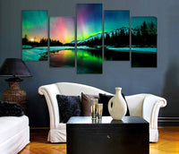 canvas  5 piece art colorful Aurora Borealis Painting decoration for home wall art on canvas living room decor Art Picture