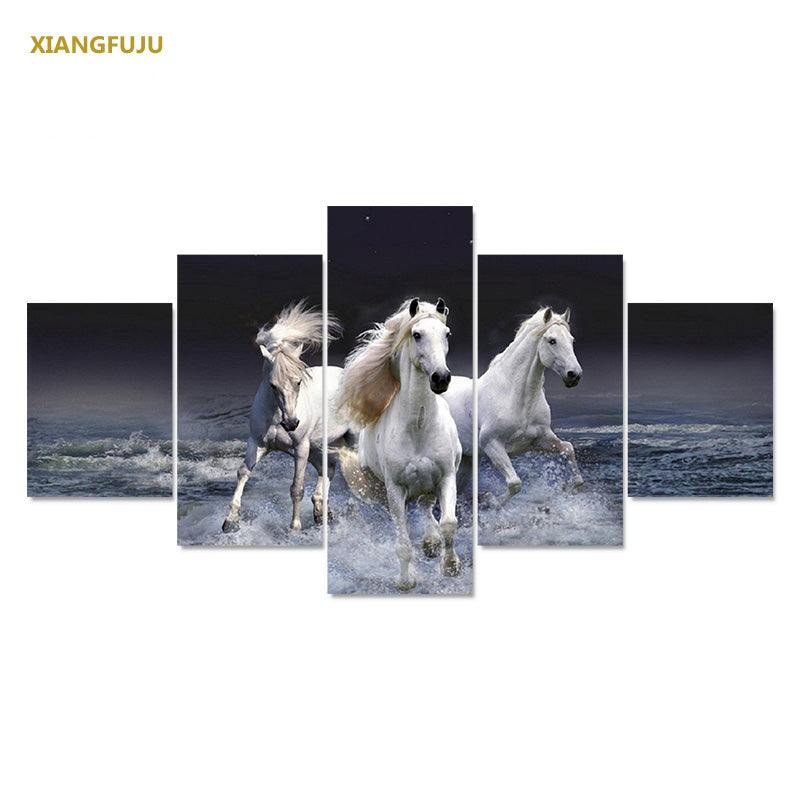 5pcs/set Modern HD Horse Wall Art Canvas Painting For Bedroom Living Room Decoration Unframed Animal Prints Picture On Canvas