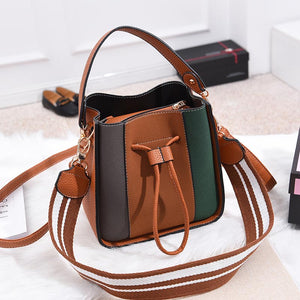 AOYI Women High Quality PU Leather Handbag Casual Tote Patchwork