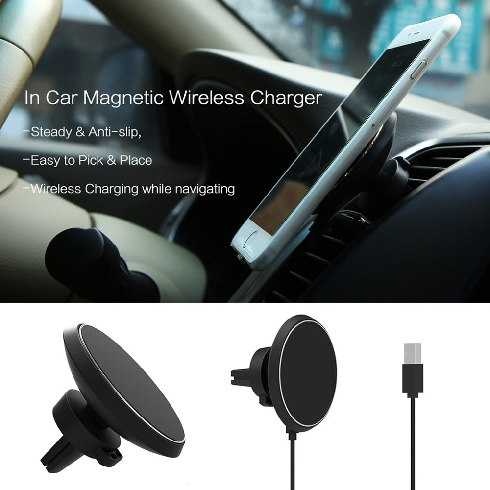 Advanced WPC Qi Standard Wireless  Car Charger Dock Holder Magnetic Air Vent Adjustable Charging Silicone Pad Stand