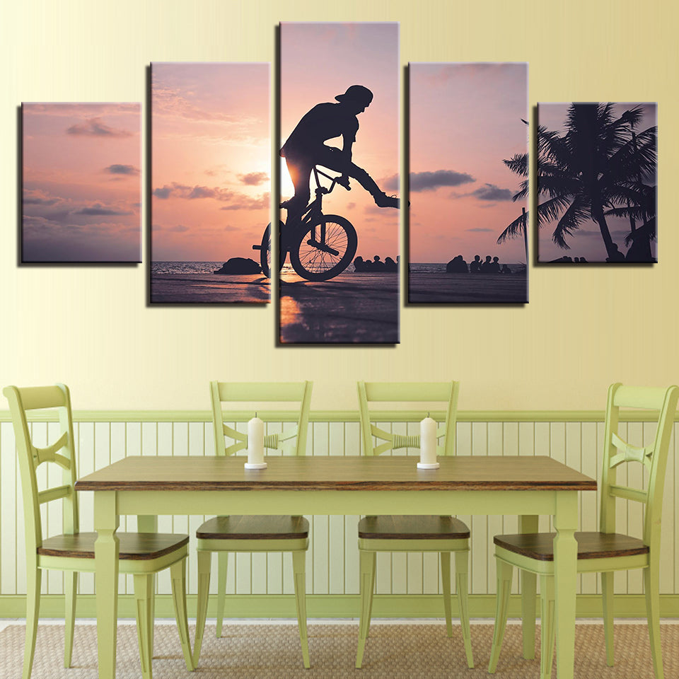 Art Posters Pictures Wall Home Decoration No Frame 5 Panel Sunset ...