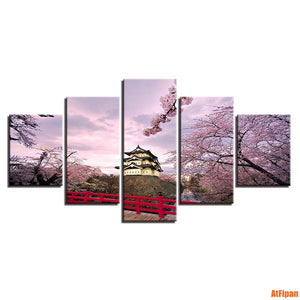 Artwork Wall Art Poster Modular Picture Canvas Cherry Blossoms Unframed Painting 5 Panels Japan Landscape Living Room Decorative